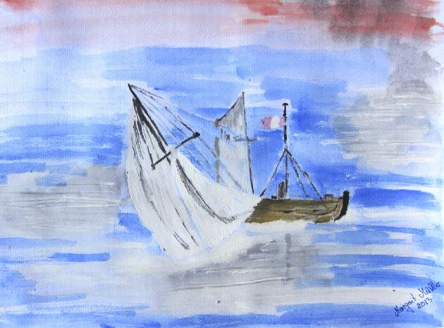 Kleinesbild - Aquarell Bild Segelboot handgemalt mit Aquarellfarben auf Aquarellpapier direkt von der Künstlerin das Original kaufen