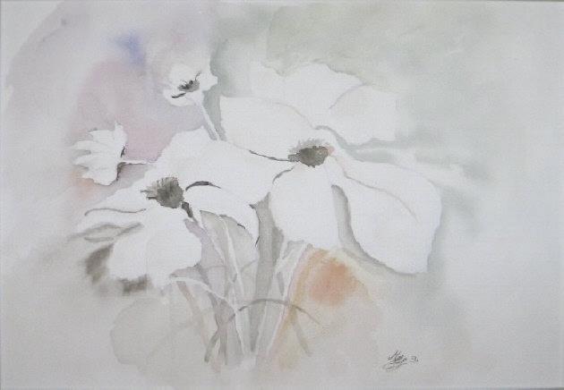 Kleinesbild - Grußkarte Faltkarte Zarte Blüte fotografiert vom Aquarell und gedruckt auf Fotopapier kaufen