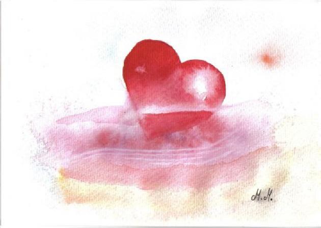 Kleinesbild - Grußkarte Faltkarte Herz in Not handgemalt fotografiert und gedruckt auf Fotopapier kaufen