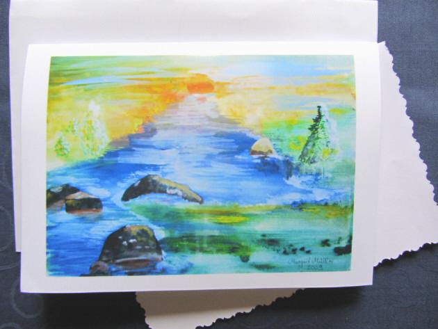 - Grußkarte Faltkarte Sonnenuntergang am Fluss handgemalt fotografiert und gedruckt auf Fotopapier kaufen - Grußkarte Faltkarte Sonnenuntergang am Fluss handgemalt fotografiert und gedruckt auf Fotopapier kaufen