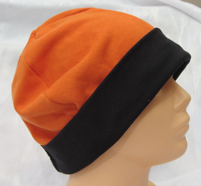 - Mütze zugeschnitten und genäht aus Baumwolljersey  in Orange und Schwarz kaufen - Mütze zugeschnitten und genäht aus Baumwolljersey  in Orange und Schwarz kaufen