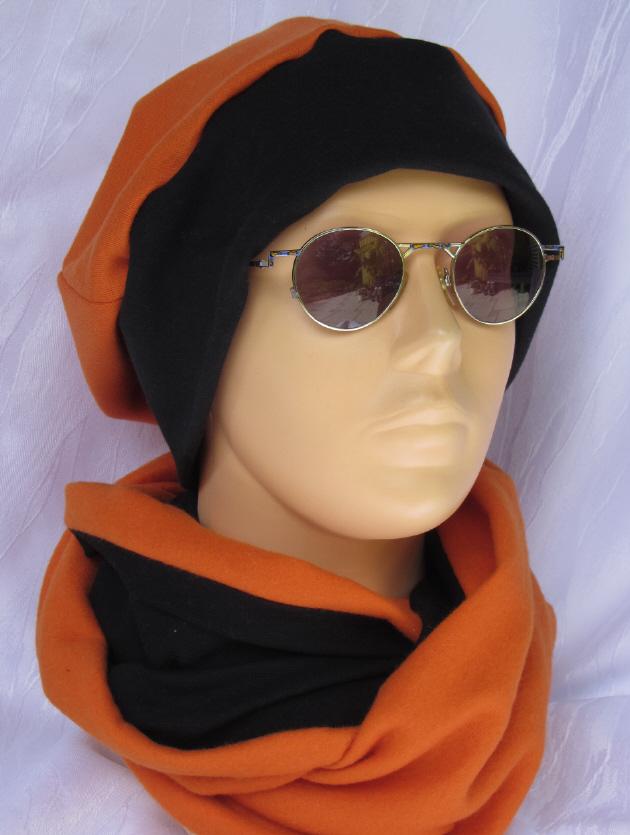 Kleinesbild - Mütze zugeschnitten und genäht aus Baumwolljersey  in Orange und Schwarz kaufen