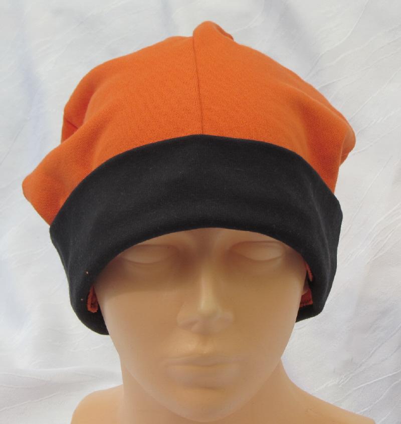 Kleinesbild - Mütze Männer zugeschnitten und genäht aus Baumwolljersey  in Orange und Schwarz kaufen