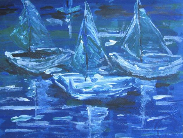 Kleinesbild - Handgemaltes Acrylbild mit dem Titel Segelboote gemalt mit Acrylfarben auf Aquarellpapier direkt von der Künstlerin kaufen