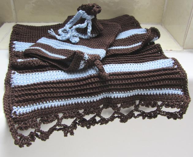 - Gästehandtuch Set handgehäkelt aus Baumwolle in Braun und Blau kaufen - Gästehandtuch Set handgehäkelt aus Baumwolle in Braun und Blau kaufen