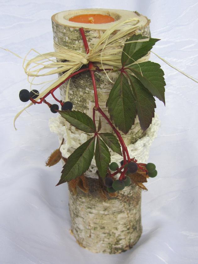 - Kerzenständer ★ Birke ausgedacht handgemacht und dekoriert mit einer Manschette aus Baumwolle gehäkelt kaufen - Kerzenständer ★ Birke ausgedacht handgemacht und dekoriert mit einer Manschette aus Baumwolle gehäkelt kaufen