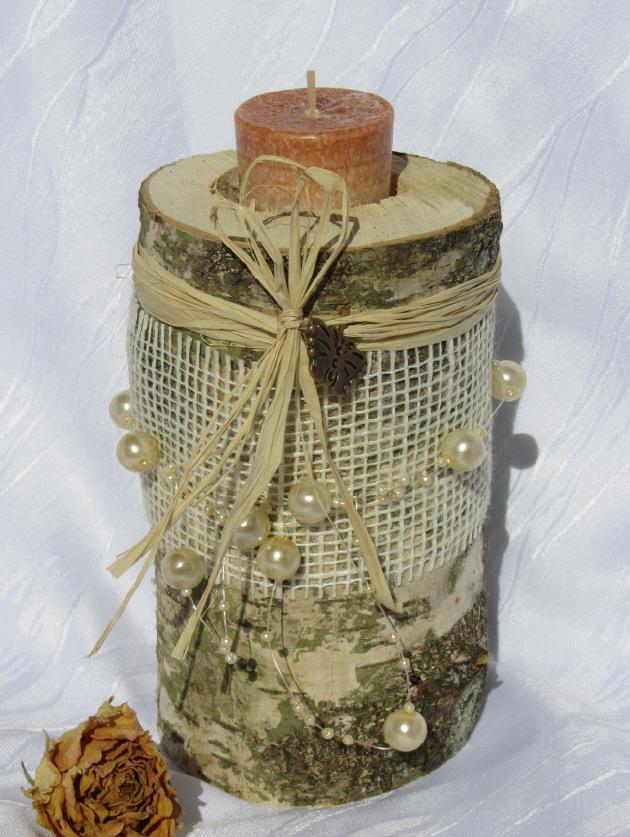Kleinesbild - Kerzenständer ★ Birke ausgedacht handgemacht und dekoriert mit Juteband und Perlenband gehäkelt kaufen