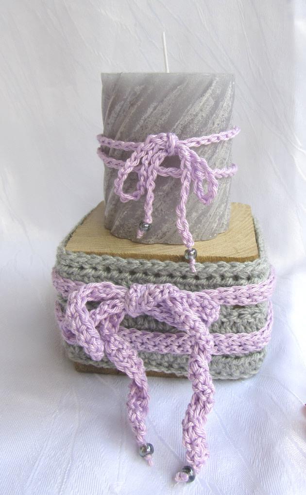 Kleinesbild - Kerzenhalter ☆ handgemacht aus Holz und einer Manschette aus Baumwolle in grau kaufen
