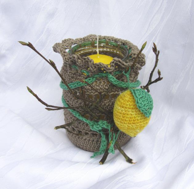 Kleinesbild - Windlicht im Herbstkleid handgefertigt aus Baumwolle in braun kaufen