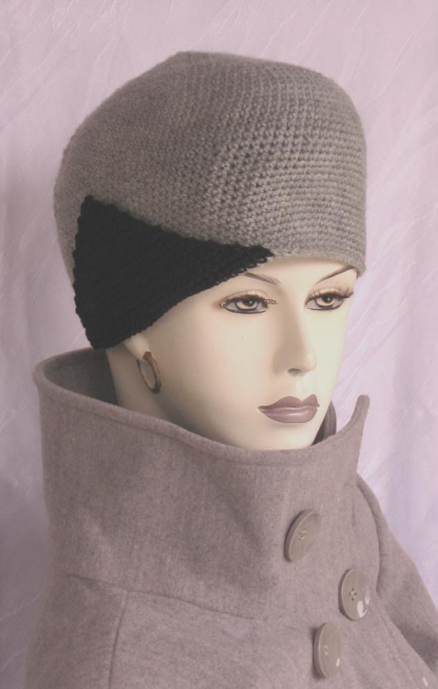- Handgehäkelte Mütze gehäkelt aus Wolle in Grau und Schwarz kaufen - Handgehäkelte Mütze gehäkelt aus Wolle in Grau und Schwarz kaufen