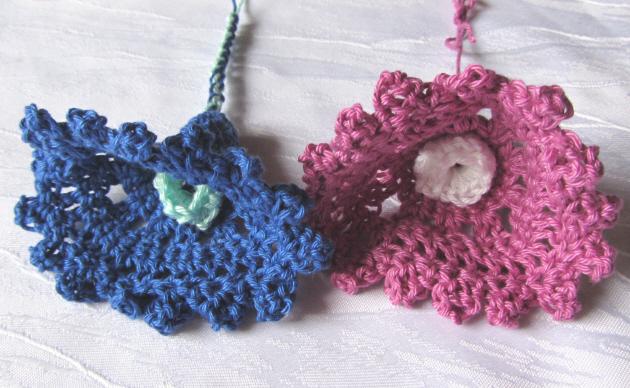 - Glockenblüten im Zweierset ☀ handgehäkelt aus Baumwolle in vielen Farben bestellen - Glockenblüten im Zweierset ☀ handgehäkelt aus Baumwolle in vielen Farben bestellen