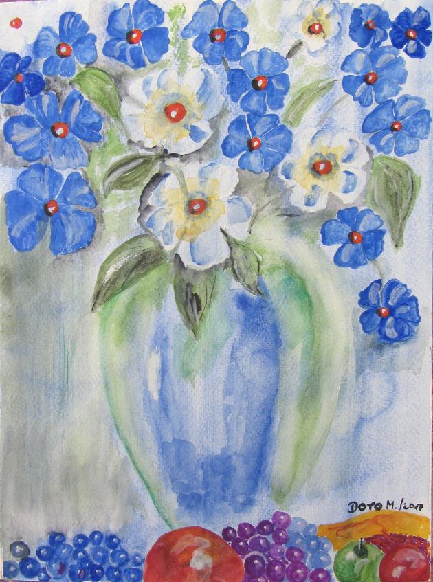 - Handgemaltes Aquarellbild mit dem Titel Blauer Blumenstrauß gemalt mit Aquarellfarben auf Aquarellpapier direkt von der Künstlerin kaufen - Handgemaltes Aquarellbild mit dem Titel Blauer Blumenstrauß gemalt mit Aquarellfarben auf Aquarellpapier direkt von der Künstlerin kaufen
