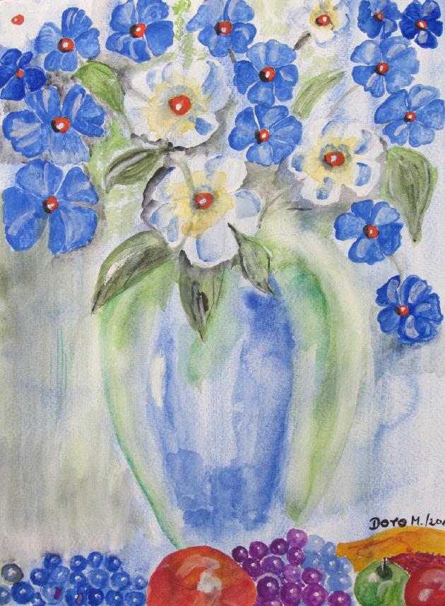 Kleinesbild - Handgemaltes Aquarellbild mit dem Titel Blauer Blumenstrauß gemalt mit Aquarellfarben auf Aquarellpapier direkt von der Künstlerin kaufen