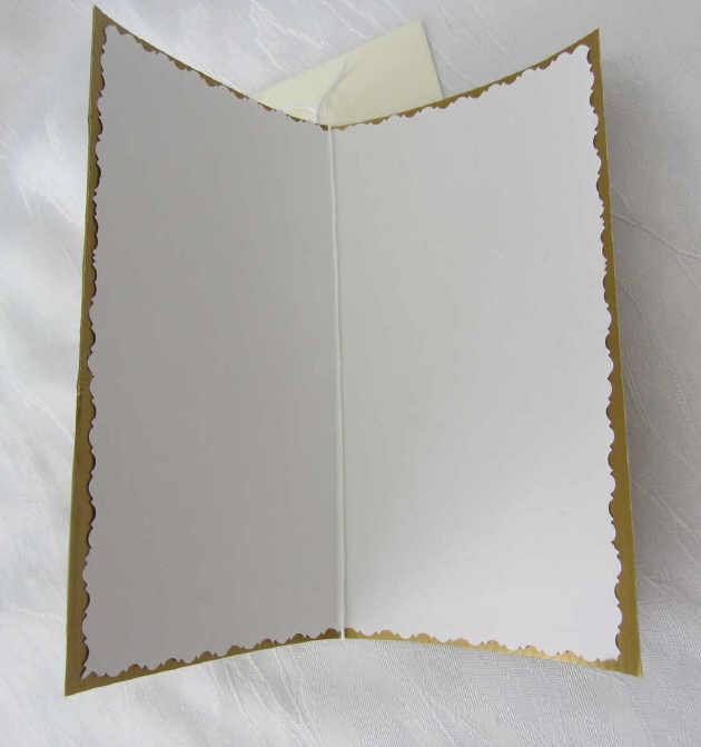 Kleinesbild - Faltkarte ☆ Klappkarte Weihnachtskarte mit Briefumschlag handgefertigt aus Wellpappe goldfarbig kaufen