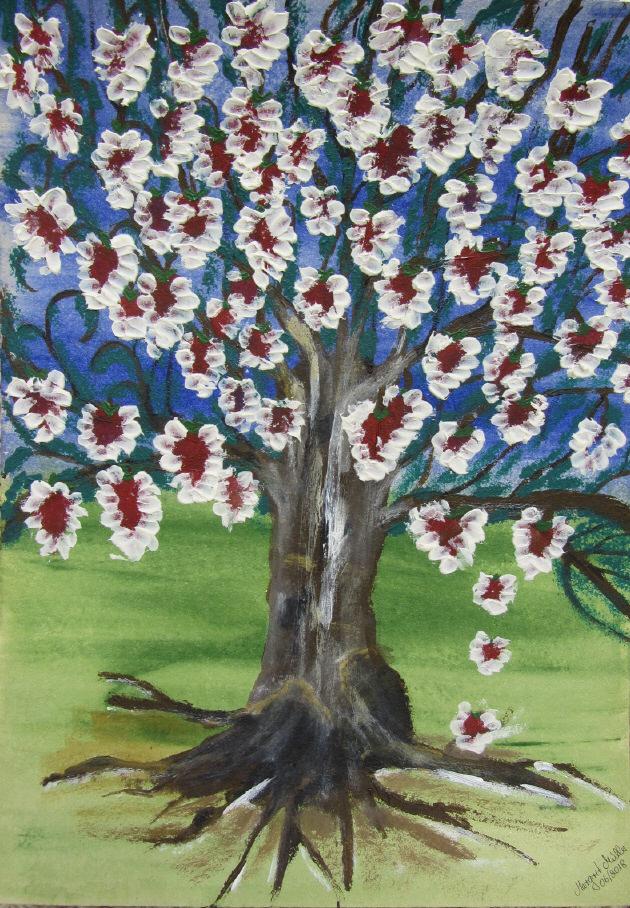 Kleinesbild - Handgemaltes Acrylbild mit dem Titel Alter Baum mit jungen Blüten gemalt mit Acrylfarben auf Pappe direkt von der Künstlerin kaufen