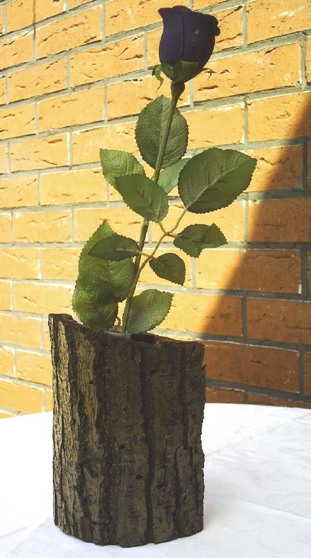 Wohnen Vase Aus Einem Baumstamm Mit Rinde Und Seiner