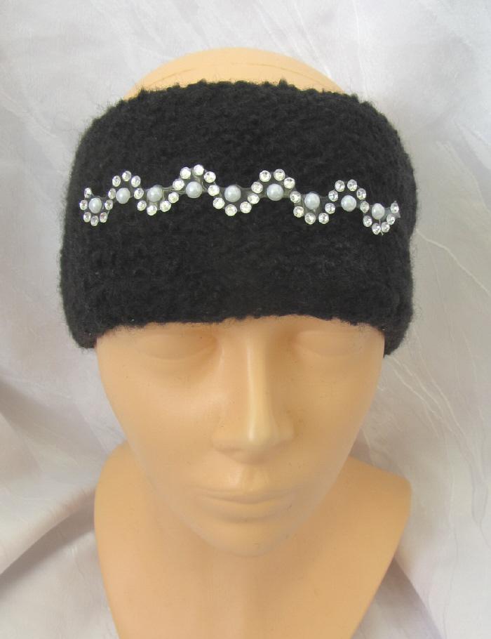 Kleinesbild - Handgestricktes und gefilztes Stirnband aus schwarzer Wolle mit einer Glitzerbordüre kaufen
