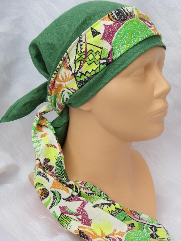 Kleinesbild - Handgefertigtes zweiteiliges Kopftuch Damen in Grün ✂ mit buntem Band aus Leinen- und Baumwollstoff zugeschnitten und genäht kaufen
