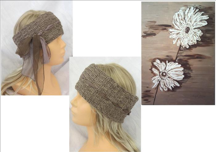 Kleinesbild - Handgehäkeltes Stirnband aus Baumwolle in Taupe mit Band im extravagentem Muster kaufen