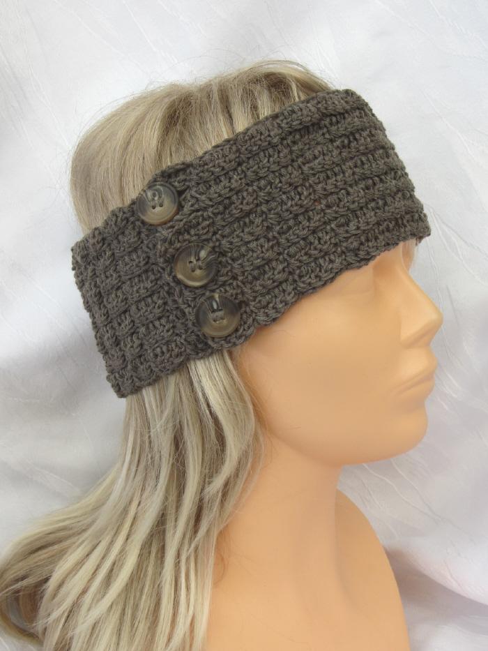 - Handgehäkeltes Stirnband aus Baumwolle und Wolle in Schlamm mit Knöpfen in extravagantem Muster kaufen - Handgehäkeltes Stirnband aus Baumwolle und Wolle in Schlamm mit Knöpfen in extravagantem Muster kaufen
