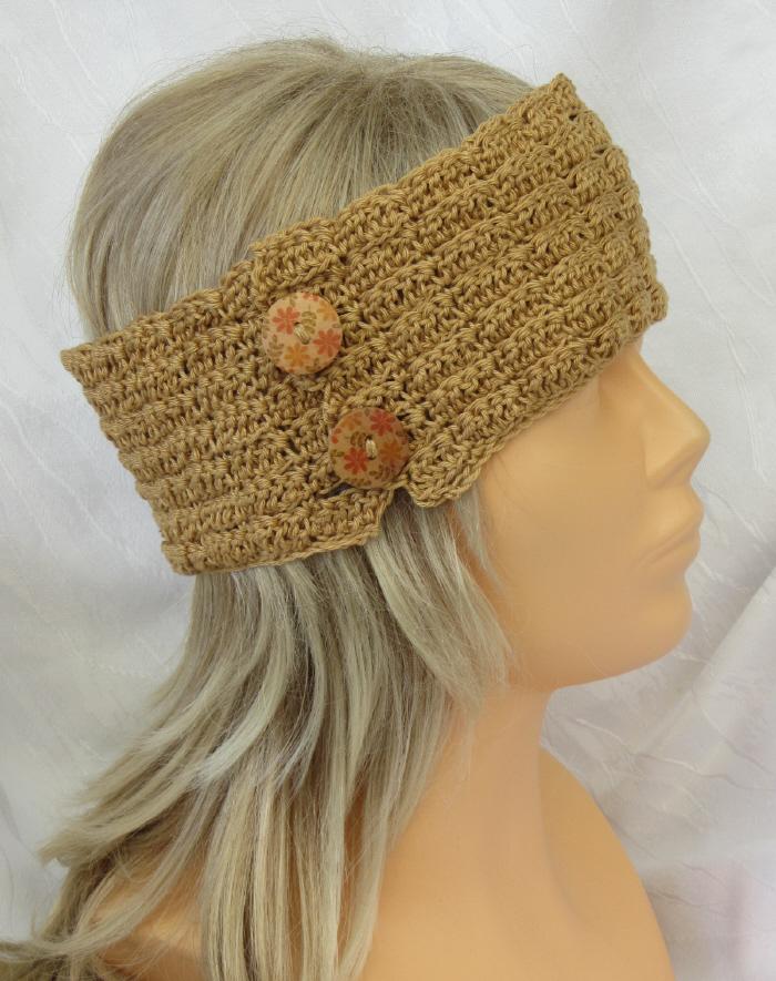 - Handgehäkeltes Stirnband ☆ aus Baumwolle in Honigfarben mit Knöpfen in extravagantem Muster kaufen - Handgehäkeltes Stirnband ☆ aus Baumwolle in Honigfarben mit Knöpfen in extravagantem Muster kaufen