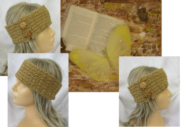 Kleinesbild - Handgehäkeltes Stirnband ☆ aus Baumwolle in Honigfarben mit Knöpfen in extravagantem Muster kaufen
