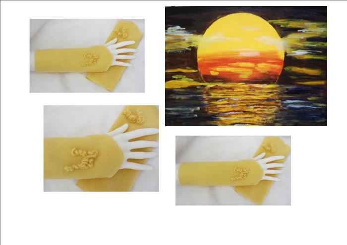 Kleinesbild - Armstulpen aus Fleecestoff in Gelb in attraktiver Form mit einer kleinen Schleife kaufen
