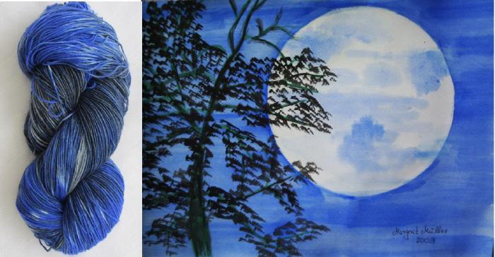Kleinesbild - Handgefärbte Sockenwolle Mondnacht in magischen Blau- und Grautönen (4-fach) Nadelstärke 2 - 3 (Grundpreis 100 g/11,00 €)