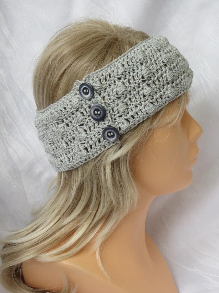 Kleinesbild - Handgehäkeltes Stirnband ☆ aus Baumwolle in edlem Grau mit Knöpfen in extravagantem Muster kaufen