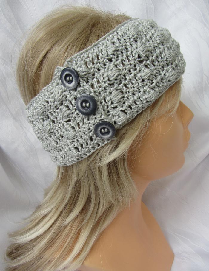 - Handgehäkeltes Stirnband ☆ aus Baumwolle in edlem Grau mit Knöpfen in extravagantem Muster kaufen - Handgehäkeltes Stirnband ☆ aus Baumwolle in edlem Grau mit Knöpfen in extravagantem Muster kaufen