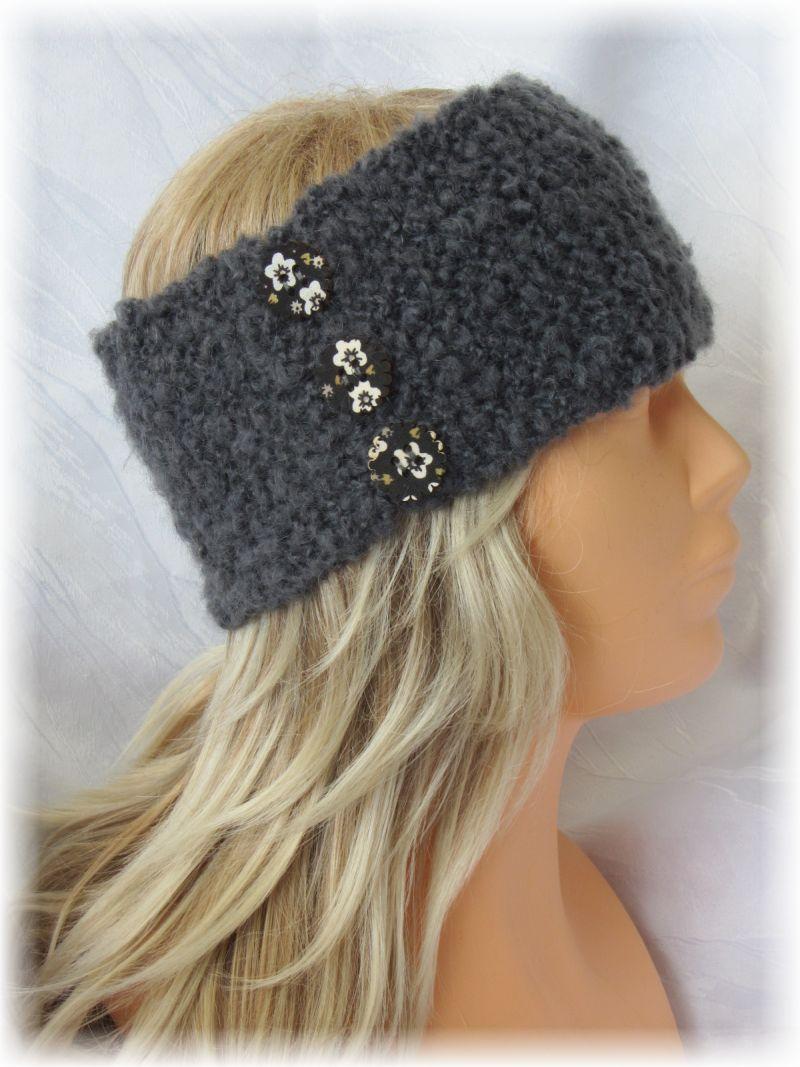 - Handgestricktes stylisches Stirnband Damen gestrickt aus grauer Strukturwolle mit Knöpfen kaufen - Handgestricktes stylisches Stirnband Damen gestrickt aus grauer Strukturwolle mit Knöpfen kaufen