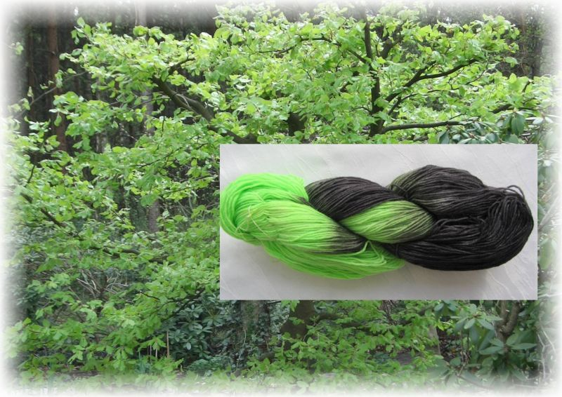 Kleinesbild - Handgefärbte Sockenwolle Maigrün Schwarz in magischer Farbkombination (4-fach) Nadelstärke 2 - 3 (Grundpreis 100 g/11,00 €)