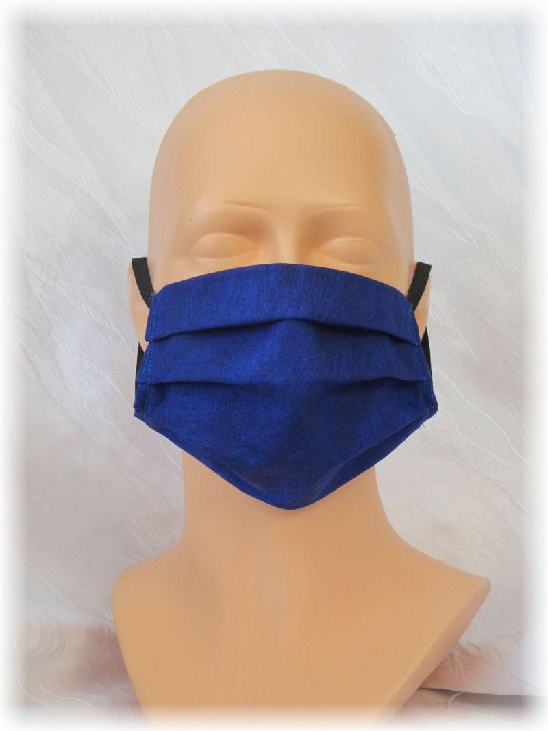Kleinesbild - Behelfs Mund Nasen Maske Gesichtsmaske zweilagig aus Baumwollstoff in Blau und Gummiband kaufen