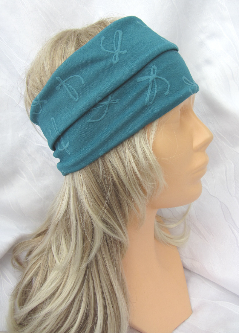 Kleinesbild - Handgefertigtes Stirnband Haarband Damen genäht aus Strukturjersey in Türkis mit einer Stoffbrosche kaufen