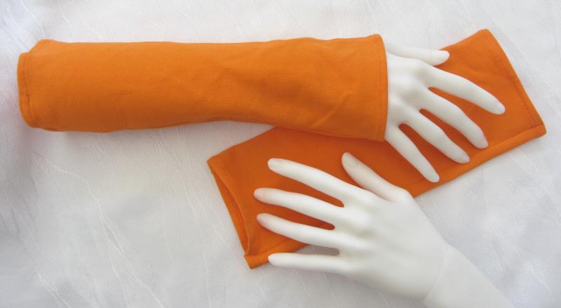 - Handgefertigte Stulpen Armstulpen ♥ genäht aus elastischem Jerseystoff in Orange  kaufen - Handgefertigte Stulpen Armstulpen ♥ genäht aus elastischem Jerseystoff in Orange  kaufen