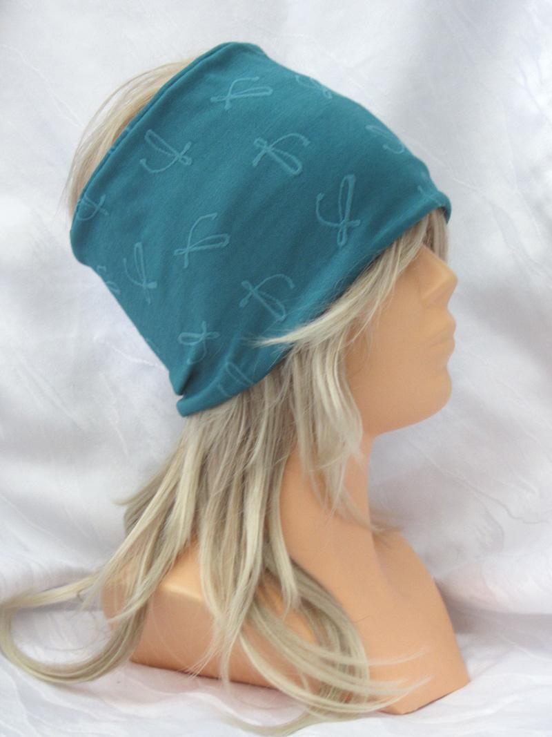 Kleinesbild - Handgefertigtes Stirnband Haarband Damen genäht aus Strukturjersey in Türkis kaufen