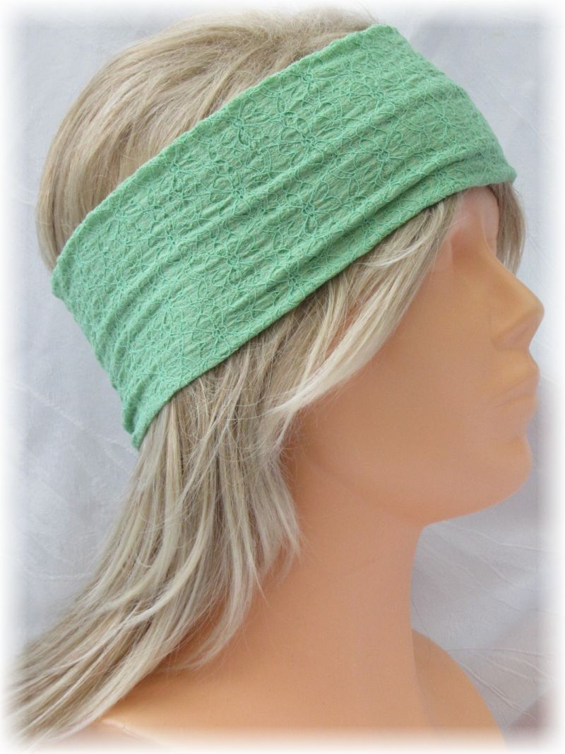 - Handgefertigtes Stirnband ♥ zugeschnitten und genäht aus leichtem mintgrünen Stoff mit einem schönen Strukturmuster kaufen - Handgefertigtes Stirnband ♥ zugeschnitten und genäht aus leichtem mintgrünen Stoff mit einem schönen Strukturmuster kaufen