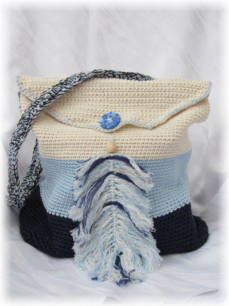 - Wunderschöne Tasche mit Taschenbaumler handgehäkelt aus Baumwolle in Blautönen und Beige für den kleinen Einkauf oder als Handtasche kaufen - Wunderschöne Tasche mit Taschenbaumler handgehäkelt aus Baumwolle in Blautönen und Beige für den kleinen Einkauf oder als Handtasche kaufen