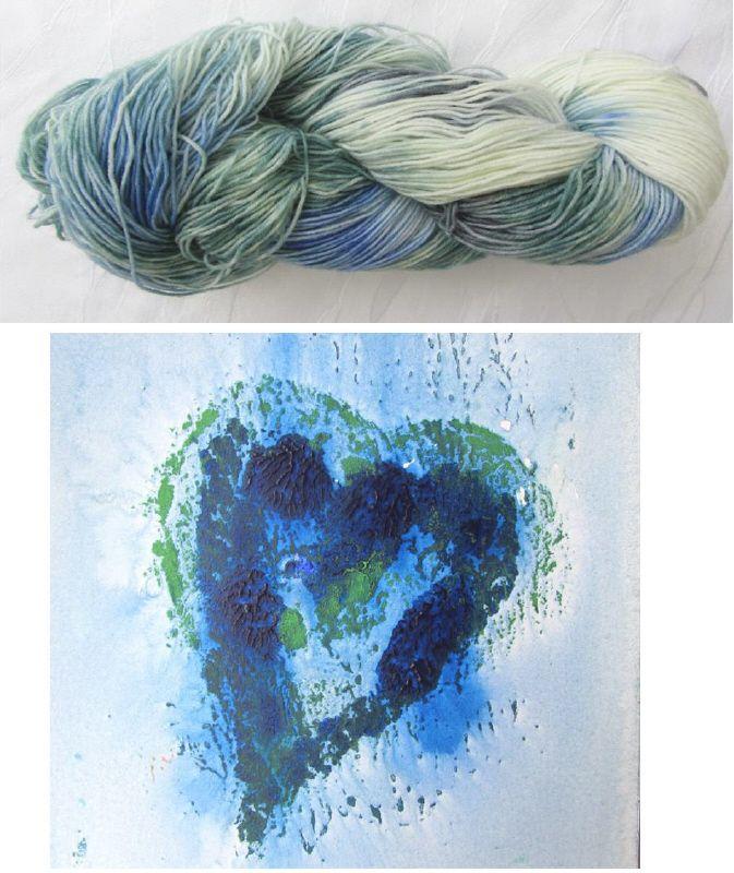 Kleinesbild - Handgefärbte Sockenwolle in Türkis und Blau (4-fach) Nadelstärke 2 - 3 (Grundpreis 100 g/11,00 €)