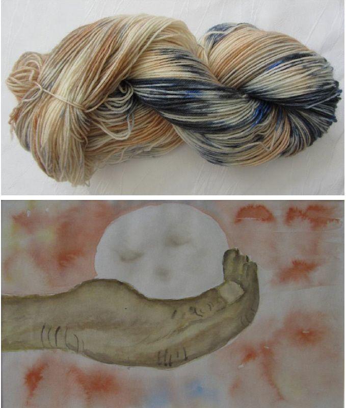 Kleinesbild - Handgefärbte Sockenwolle in Blautönen und Orangetönen (4-fach) Nadelstärke 2 - 3 (Grundpreis 100 g/11,00 €)