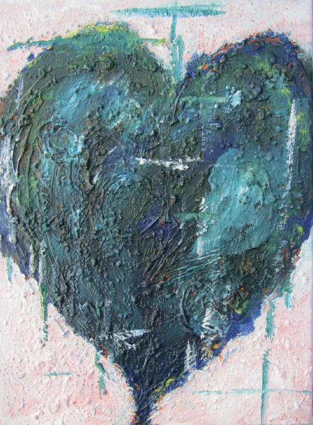 Kleinesbild - Handgemaltes Acrylbild mit dem Titel Herz in Türkis gemalt mit Acrylfarben auf Keilrahmen direkt von der Künstlerin kaufen