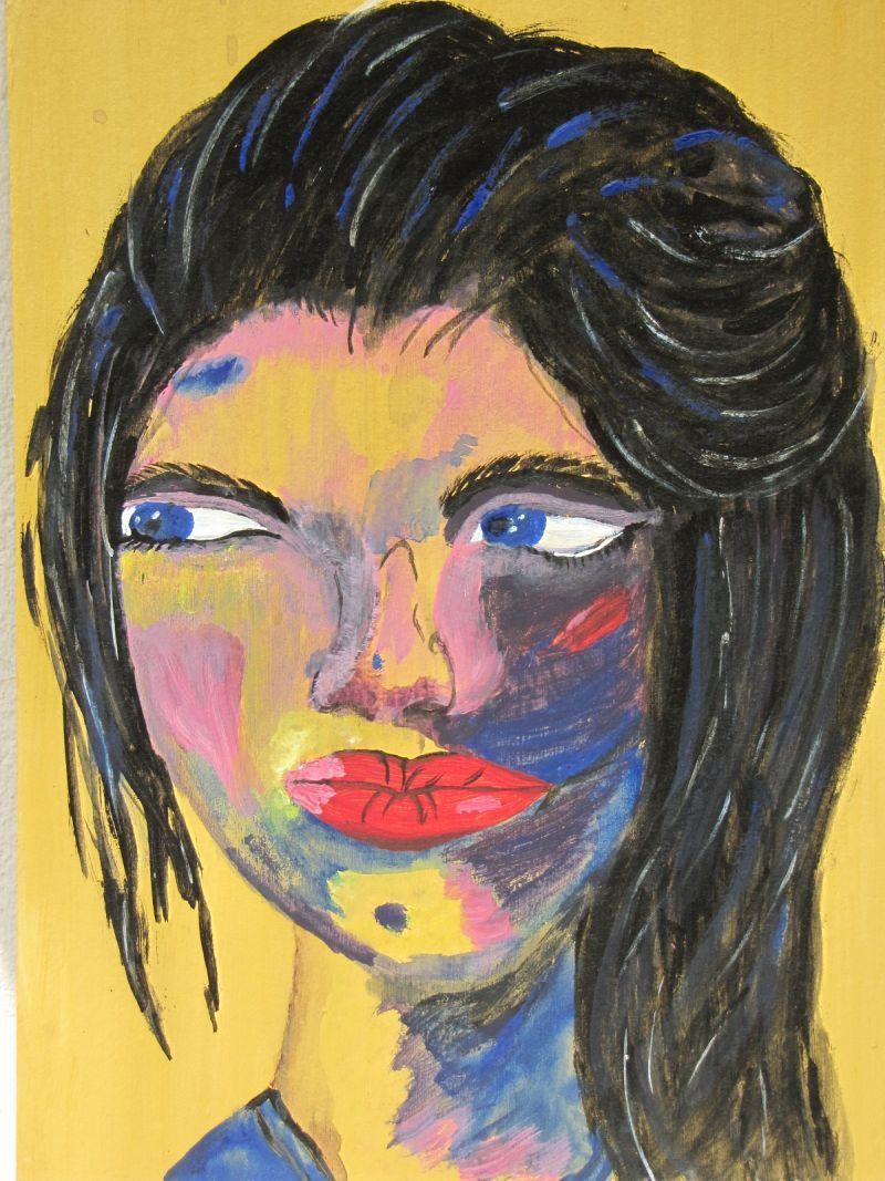 Kleinesbild - Handgemaltes Acrylbild mit dem Titel Roxana gemalt mit Acrylfarben auf Pappe direkt von der Künstlerin kaufen