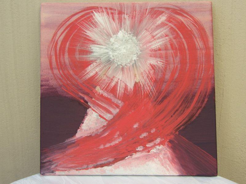 Kleinesbild - Handgemaltes Acrylbild mit dem Titel Herz Engel in Rosarot gemalt mit Acrylfarben auf Keilrahmen direkt von der Künstlerin kaufen