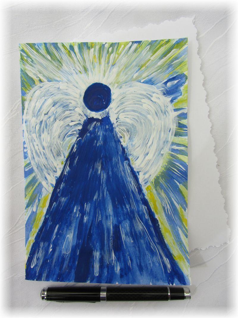 Kleinesbild - Grußkarte Faltkarte Klappkarte Engel abstrakt handgemalt direkt von der Künstlerin