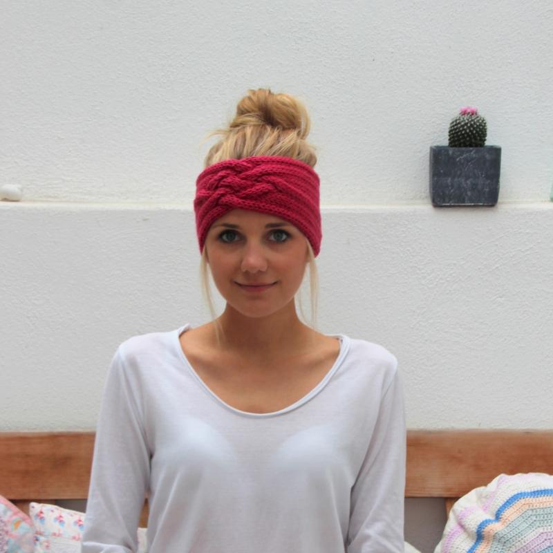 - gestricktes Stirnband *ZOE* pink von zimtblüte aus Wolle / Farbwahl - gestricktes Stirnband *ZOE* pink von zimtblüte aus Wolle / Farbwahl