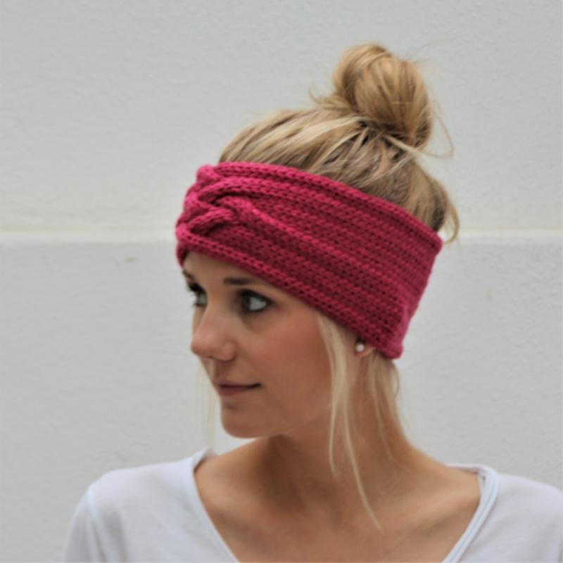 Kleinesbild - gestricktes Stirnband *ZOE* pink von zimtblüte aus Wolle / Farbwahl