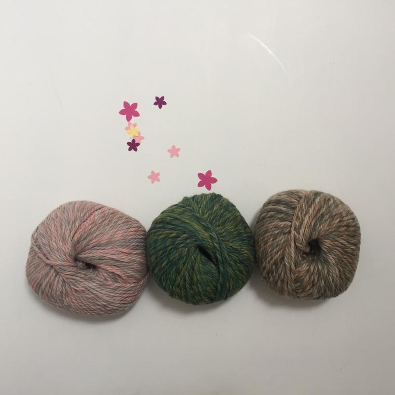 Kleinesbild - Stirnband handgestrickt *ZOE multi*  rosa grau von zimtblüte  3 x Farbverlaufswolle