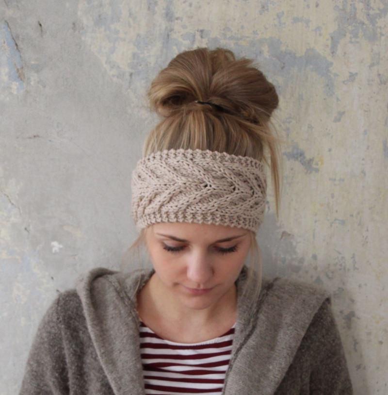Kleinesbild - Stirnband *EFFI merino* sand von zimtblüte handgestrickt / 3 Farben