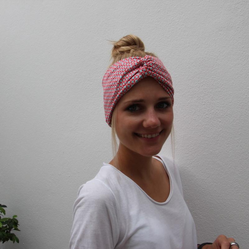 Kleinesbild - Haarband Stirnband **KORALLE**  grafisches Muster