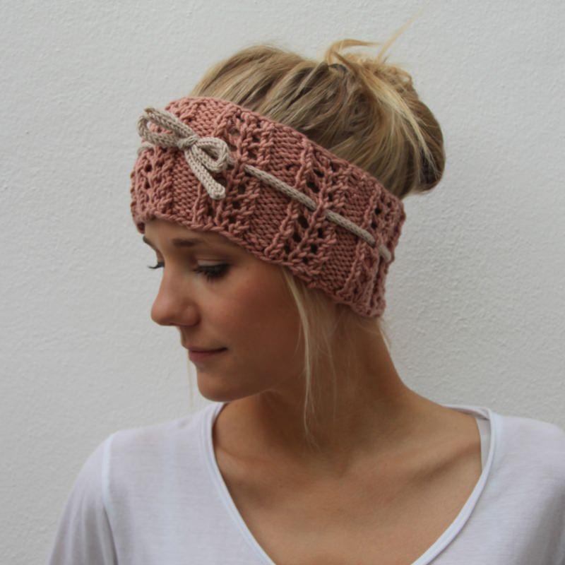 Kleinesbild - Gestricktes Stirnband * NELE * romantisch mit Lochmuster von zimtblüte